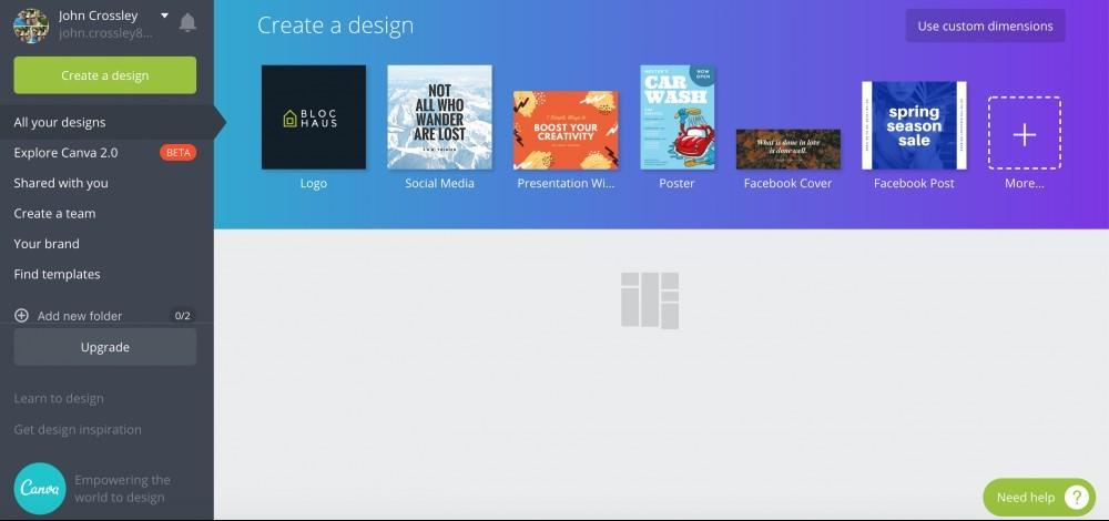 canva dashboard - create a logo