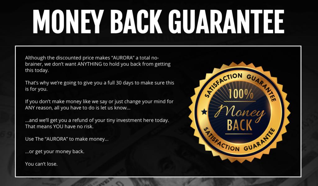 Aurora - 30-day money back gurantee