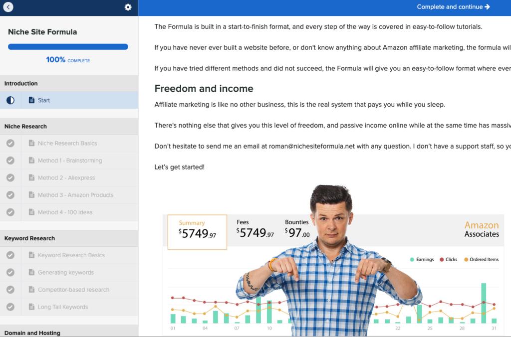 Training Screenshot - Niche Site Formula