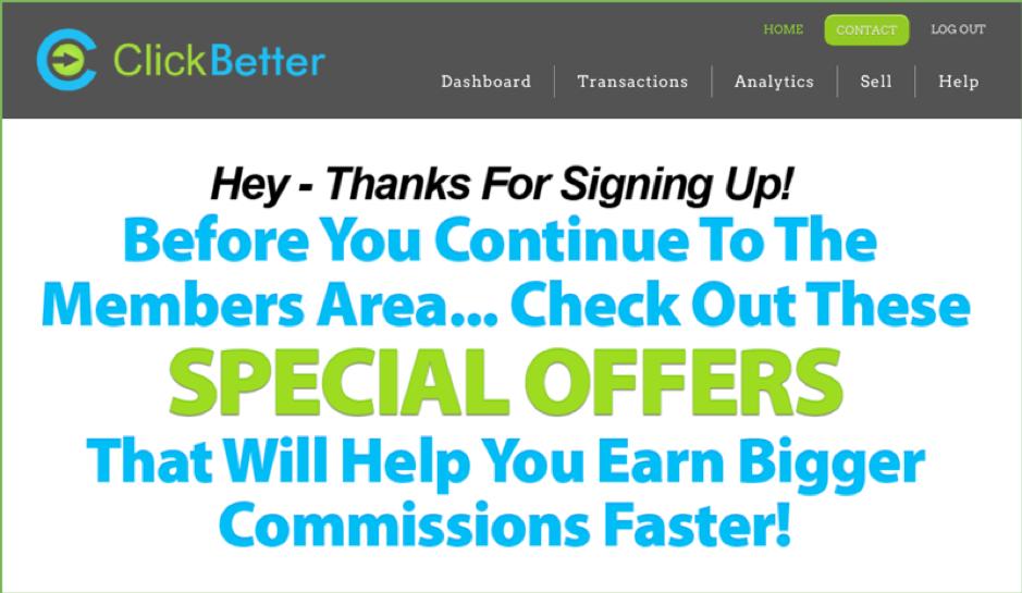 Clickbetter upsells
