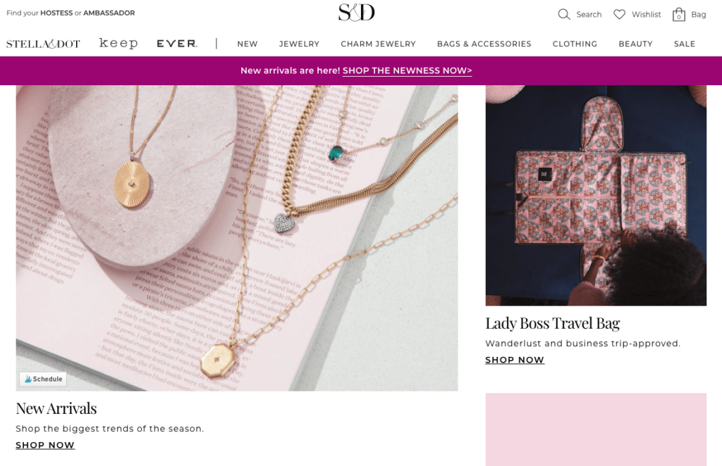 stella and dot home page