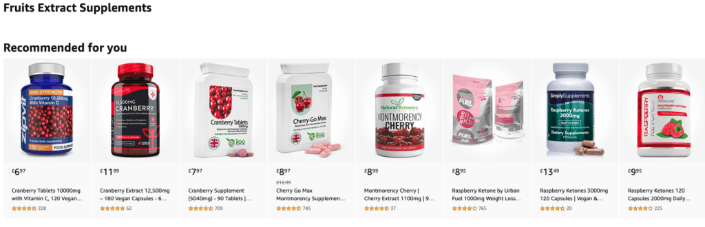 screenshot of amazon supplements - an example