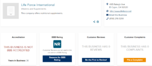 No Accreditation or Rating with the Better Business Bureau