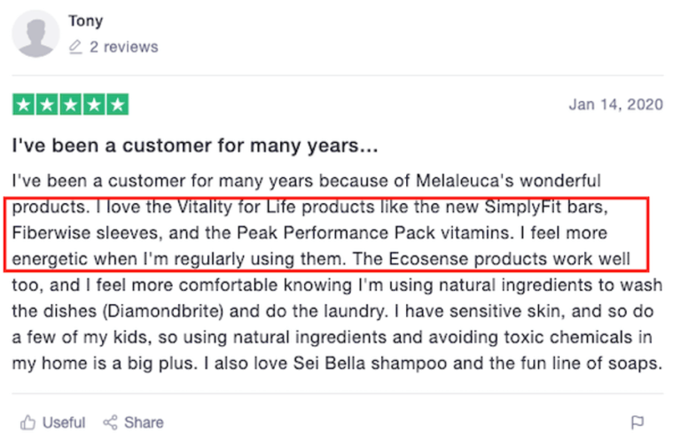 Is Melaleuca a scam - positive review