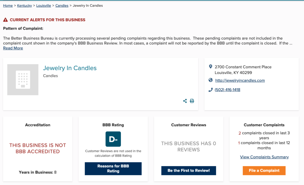 is jewlery in candles a scam - bbb d- rating