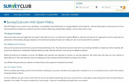 survey club antispam policy