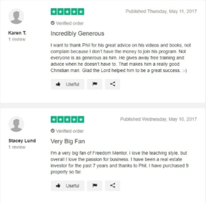 freedom mentor review - positive reviews