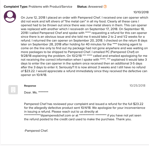 is pampered chef a scam - bbb complaint 3