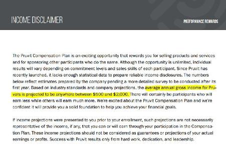 is pruvit a scam - income disclosure