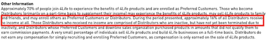 4life income disclosure small print