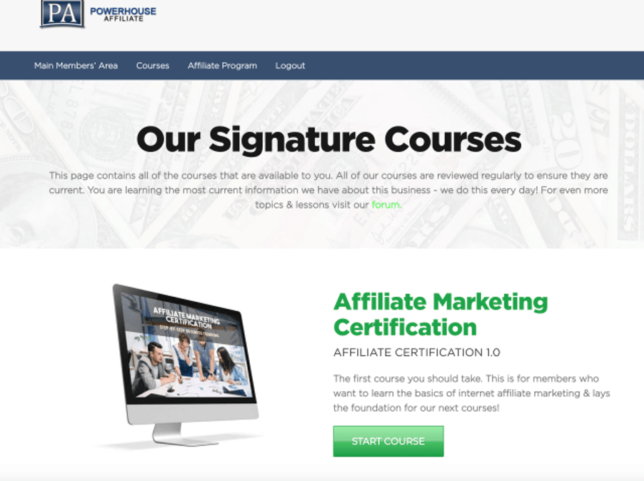 Is Powerhouse Affiliate a scam - website