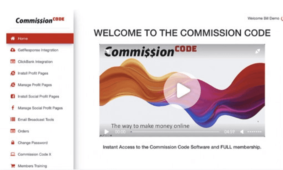 Commission Code Members Area