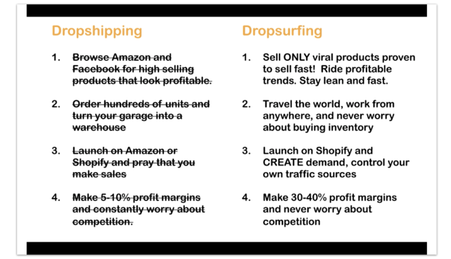 Differences between Dropshipping and Dropsurfing