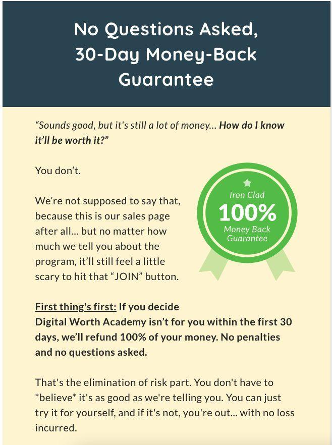 Digital Worth Academy Money Back Guarantee