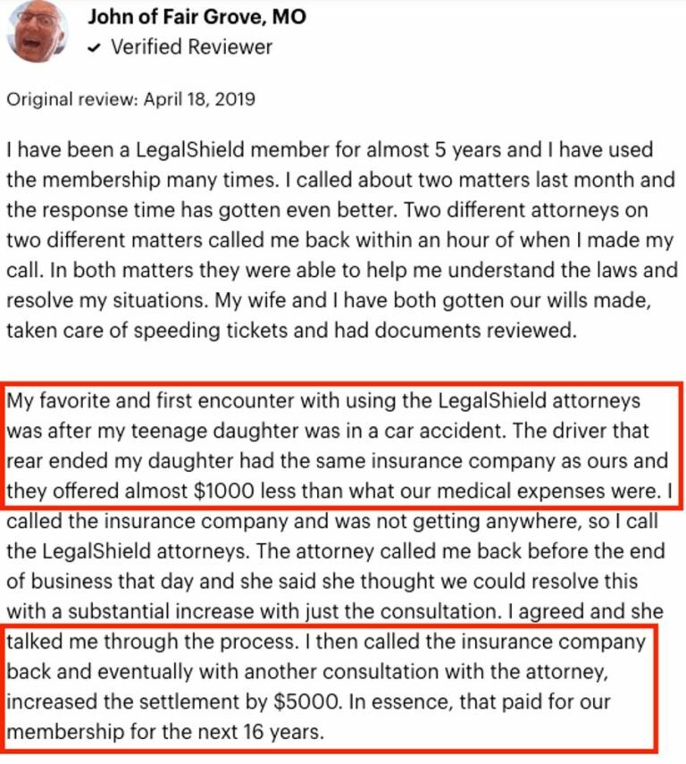 LegalShield Positive Reviews