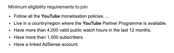 YouTube Minimum Requirements